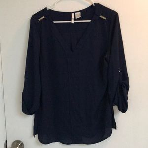 Sami & Jo size medium navy blouse